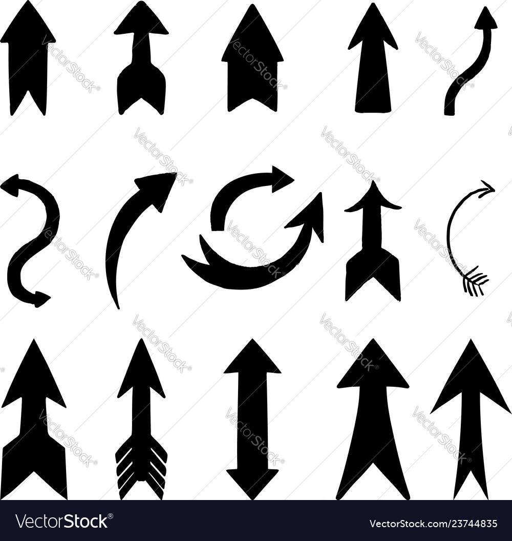 Set hand drawn arrow signs design element