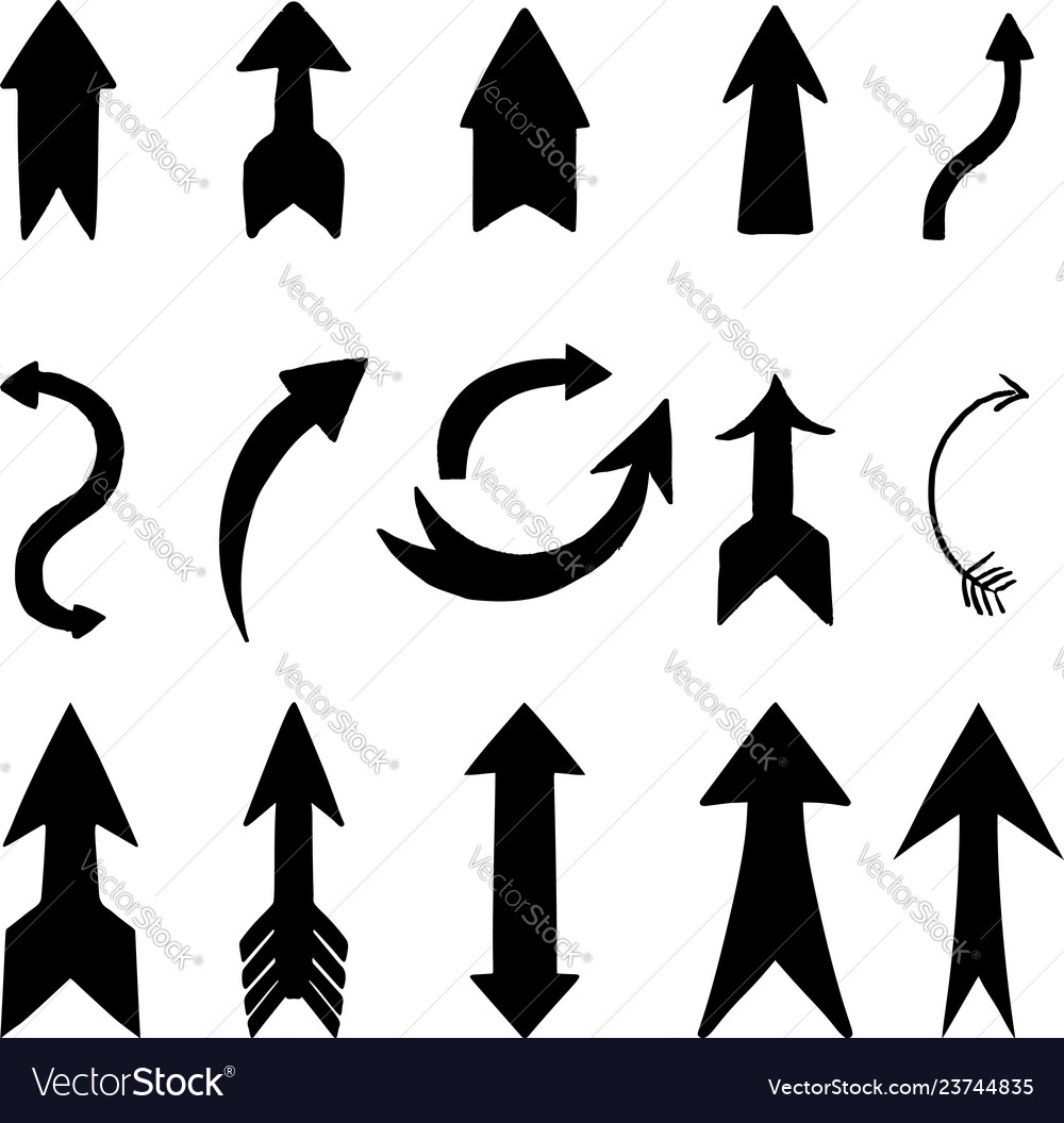 Set of hand drawn arrow signs design element for