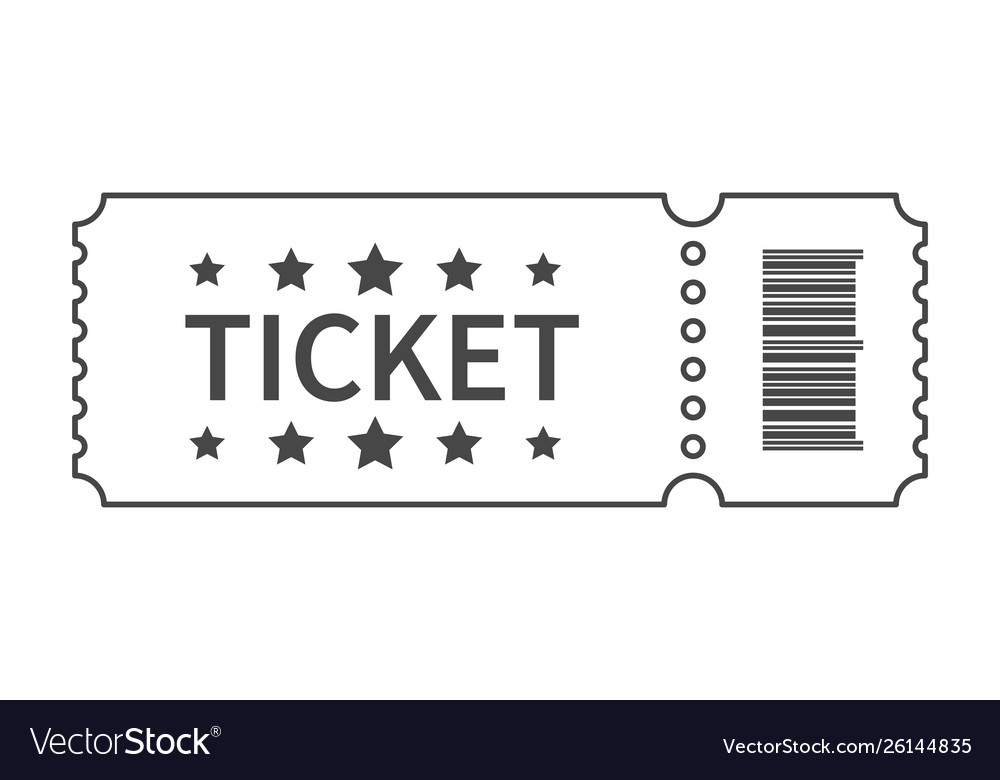 Ticket with barcode and star