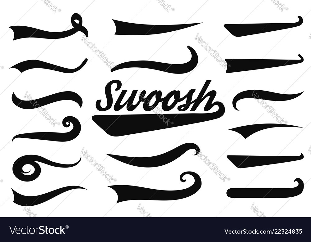 Typographic swash and swooshes tails retro