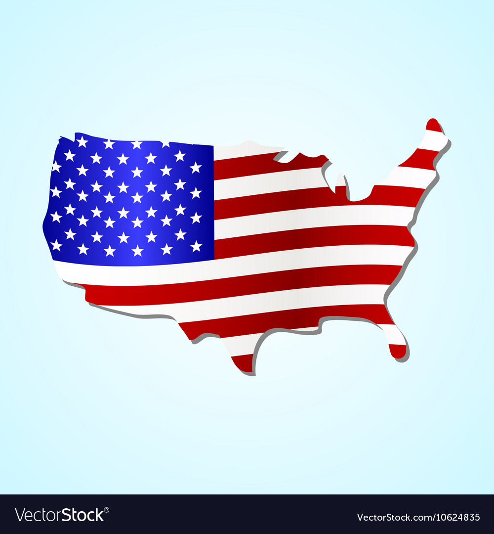 USA simple map filled with us flag colorful symbol