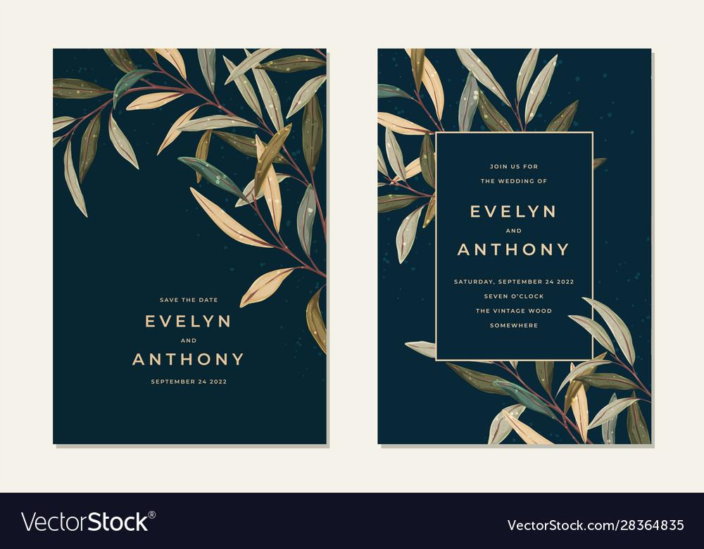 Wedding invitation with vintage leaves