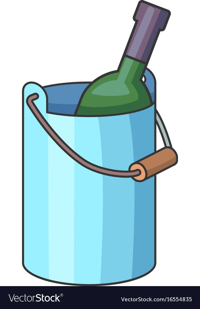 Wine bottle with ice bucket icon cartoon style vector image
