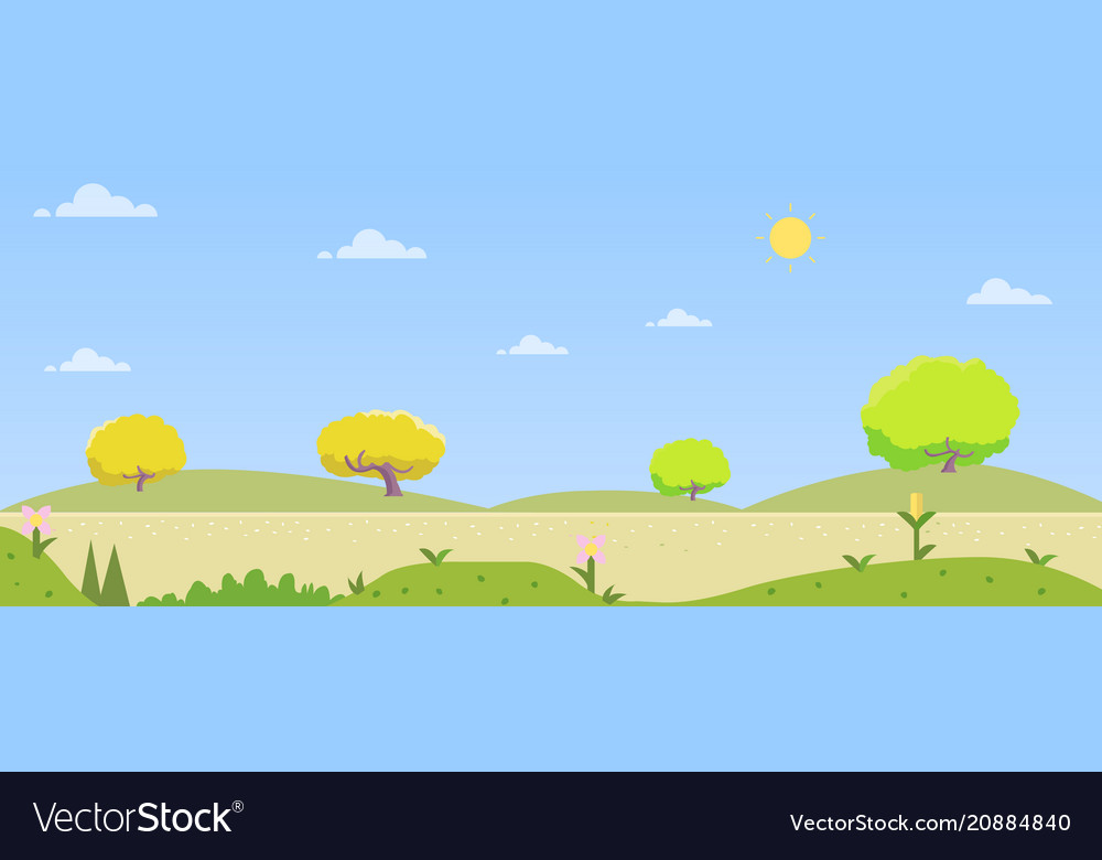 Beautiful nature landscape with hill and sky