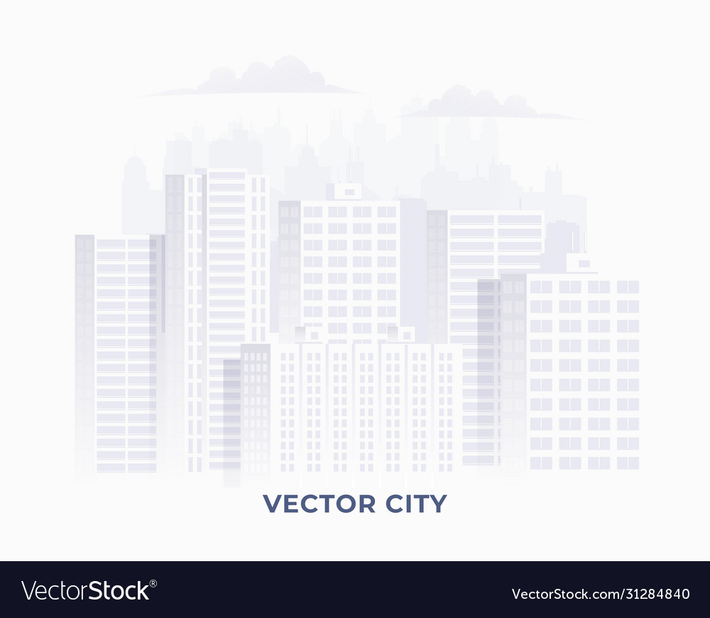 Clean light white colored city silhouette
