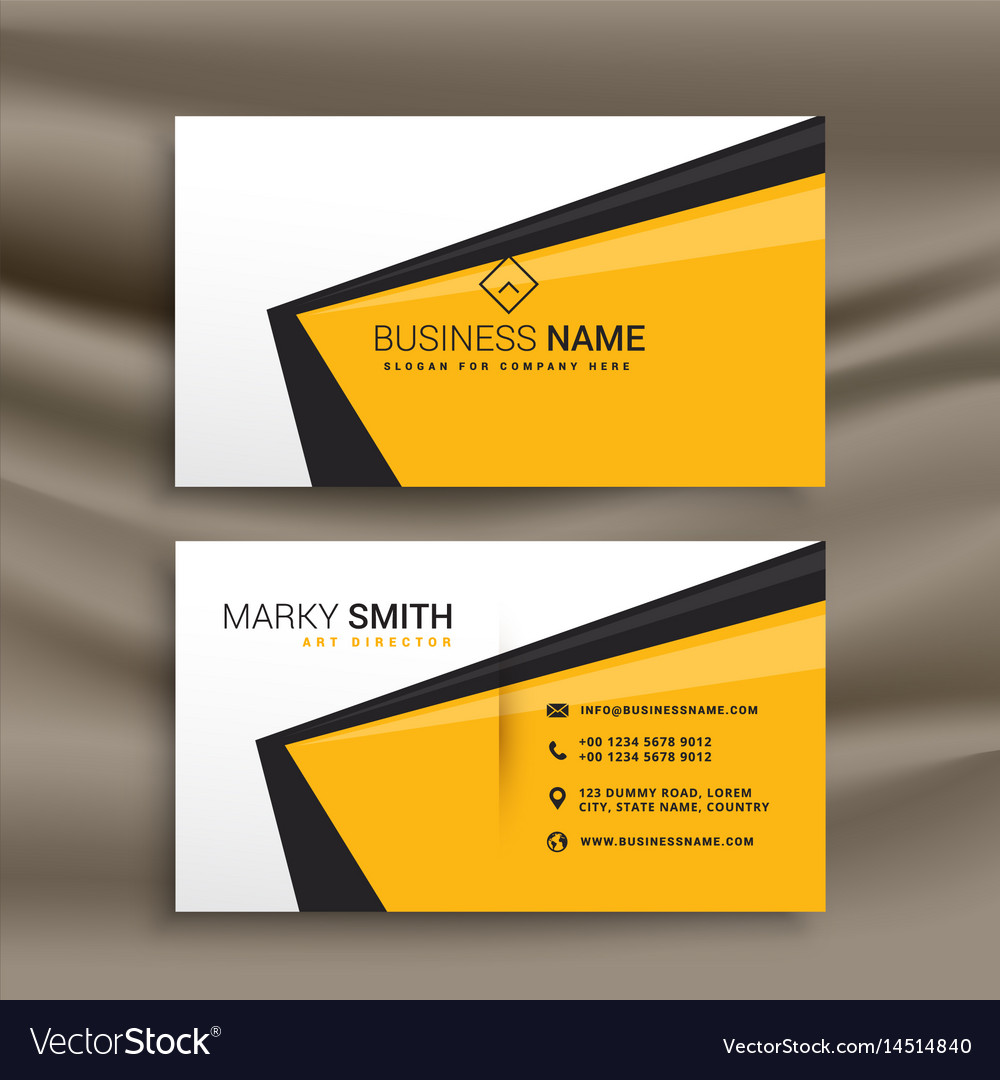 Creative business card design with flat yellow vector image on VectorStock