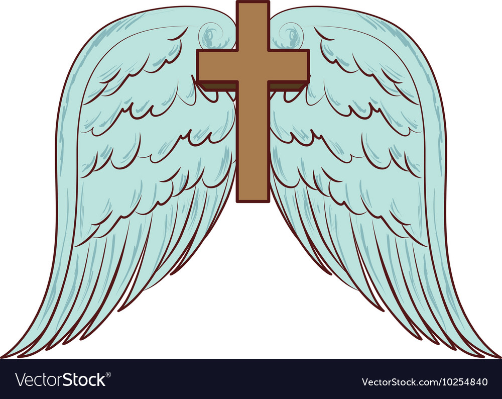 Cross wing angel holy icon