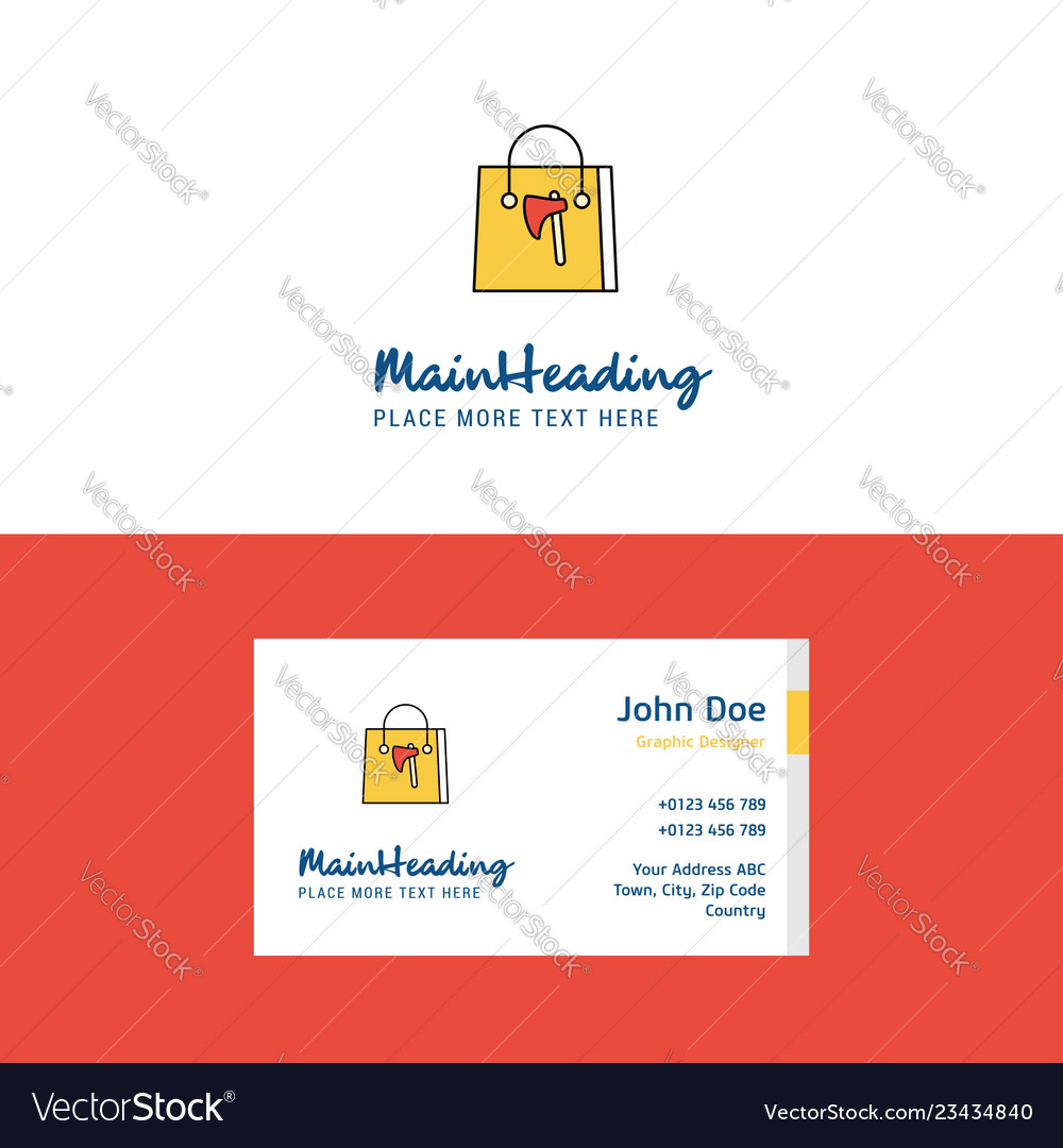 Flat shopping bag logo and visiting card template