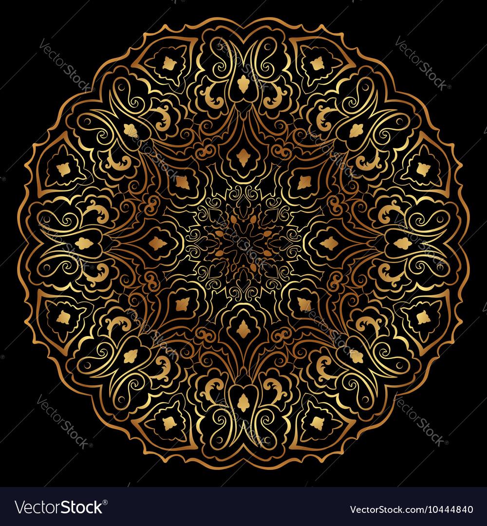 Gold circular pattern on black backgroud
