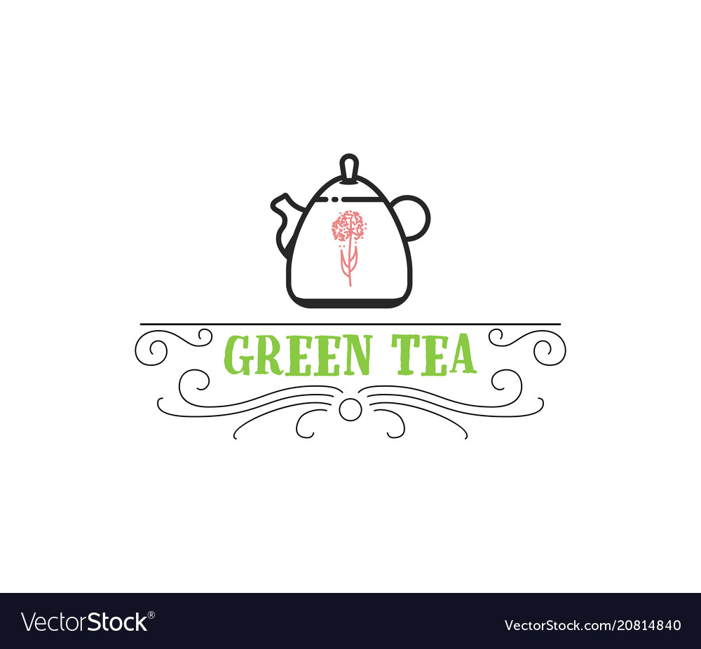 Green tea vintage stylized lettering badge