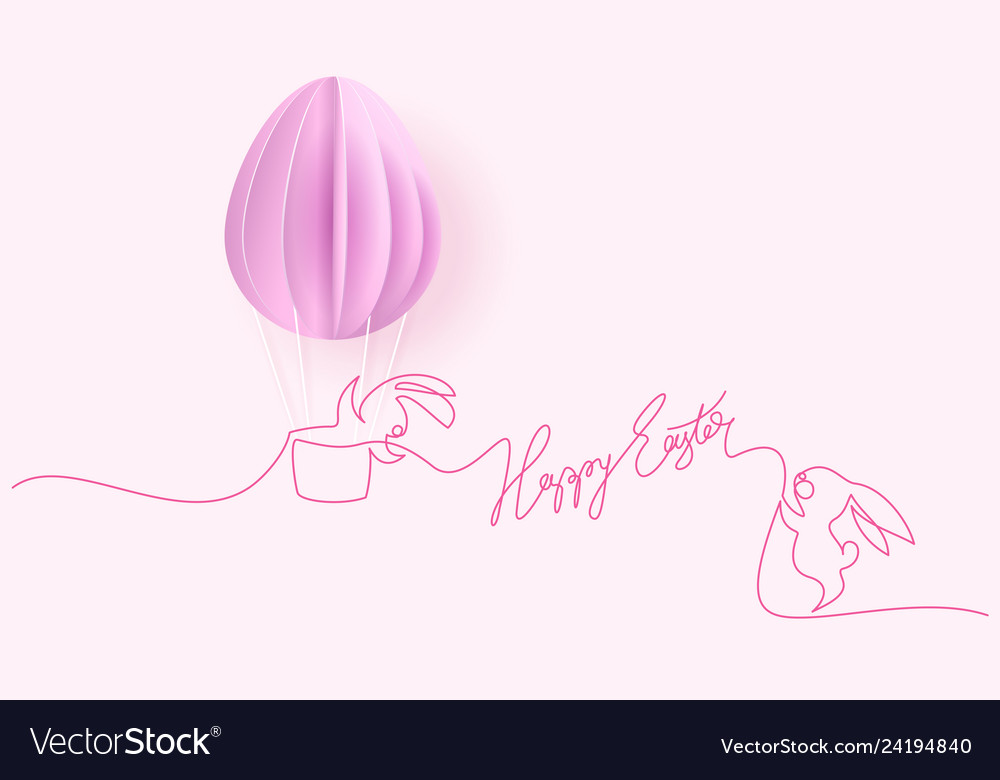 Happy easter card cute rabbit with air balloons