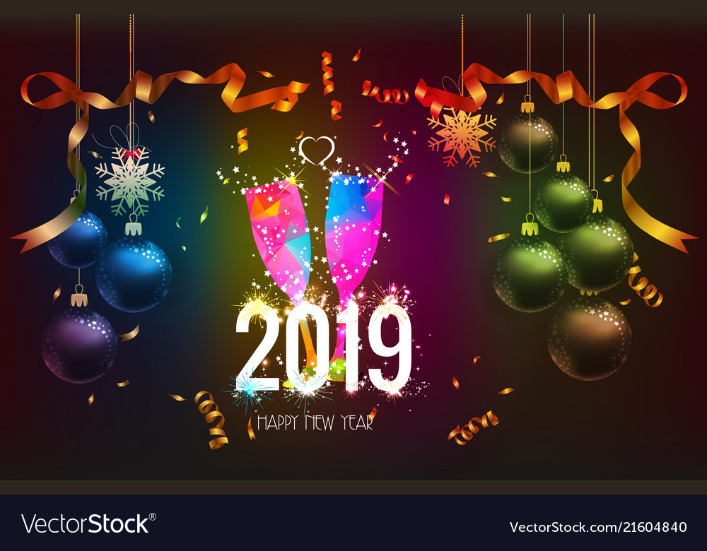 Happy new year 2019 background with christmas