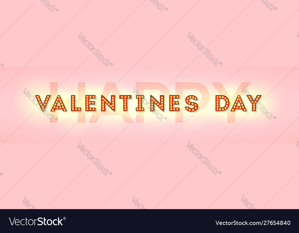 Happy valentines day card letters with