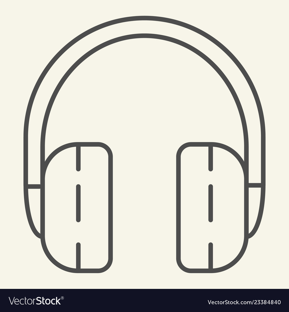 Headphones thin line icon headset