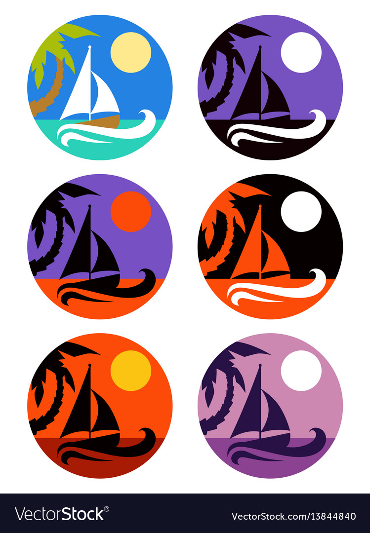Icons set of tropical marine landscape