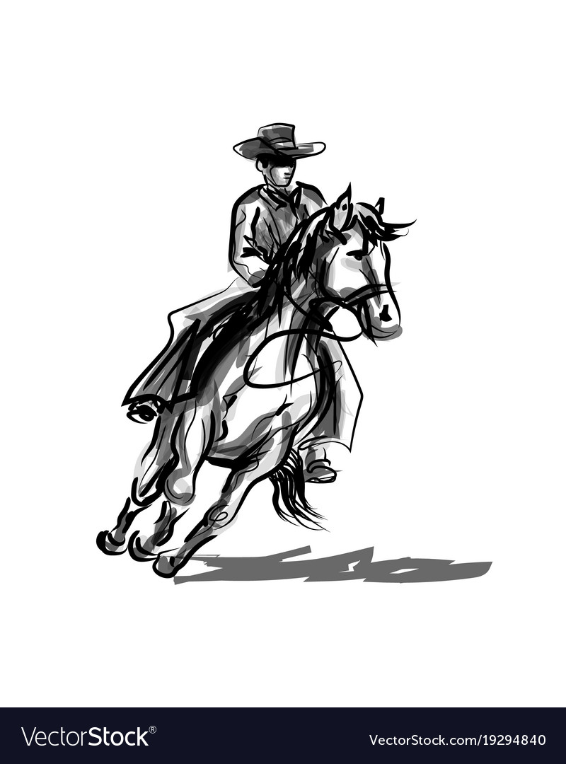 Ink Sketch A Cowboy On A Horse Royalty Free Vector Image