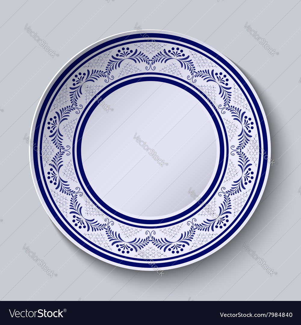Plate with blue ornamental border Template design Vector Image