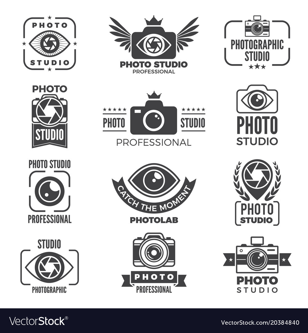 Retro pictures and logos for photo studios
