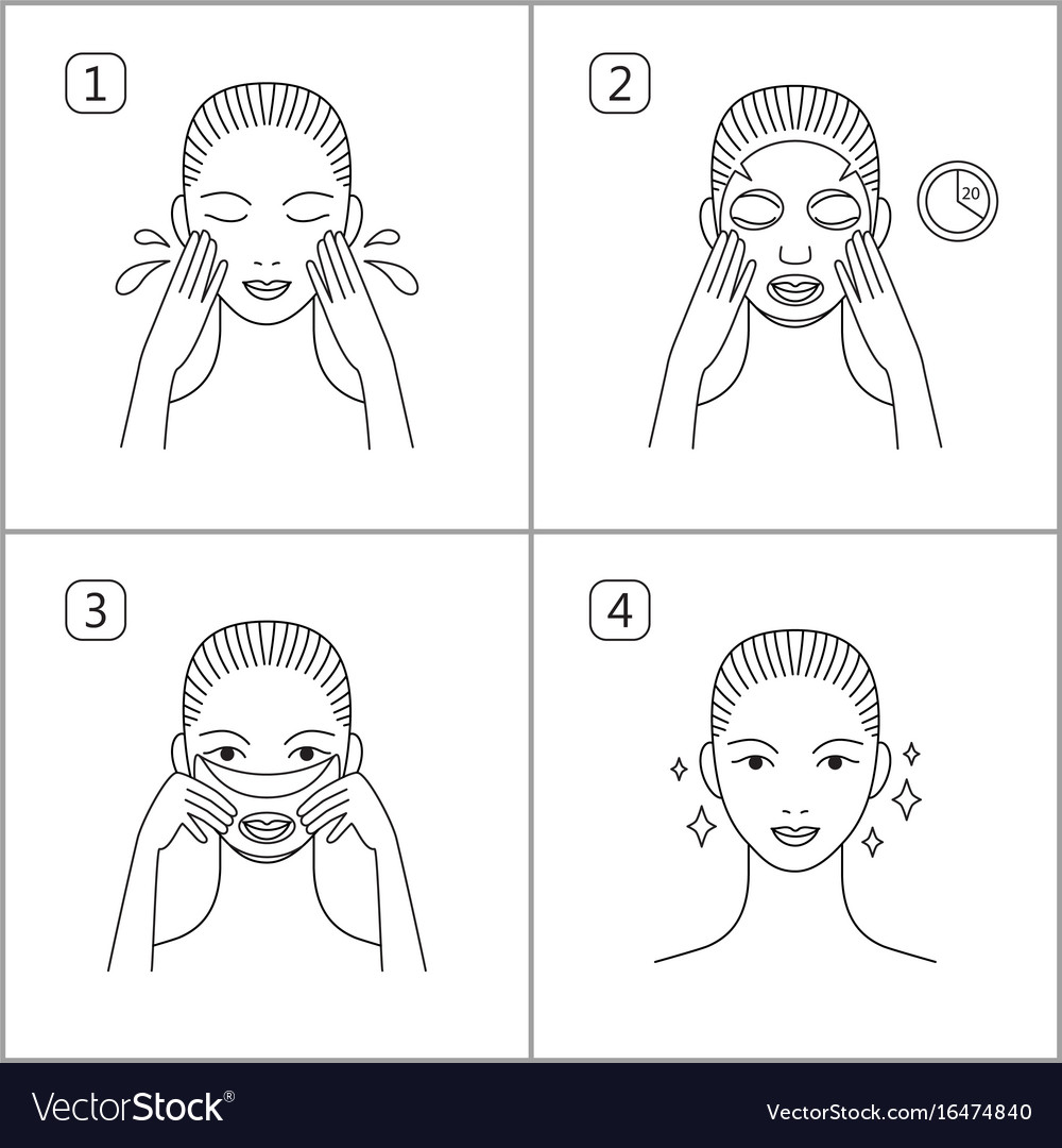 Steps how to apply facial mask isolated