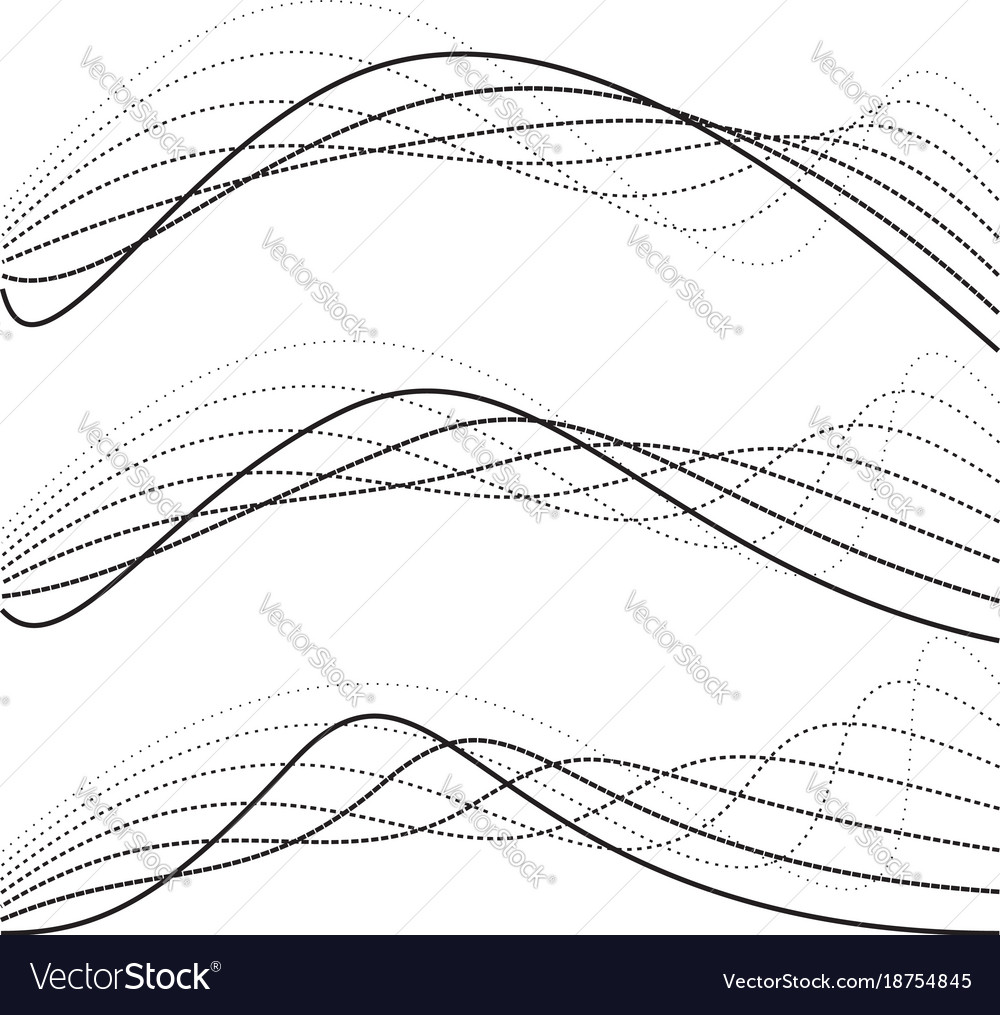 Abstract curves dotted lines black and white