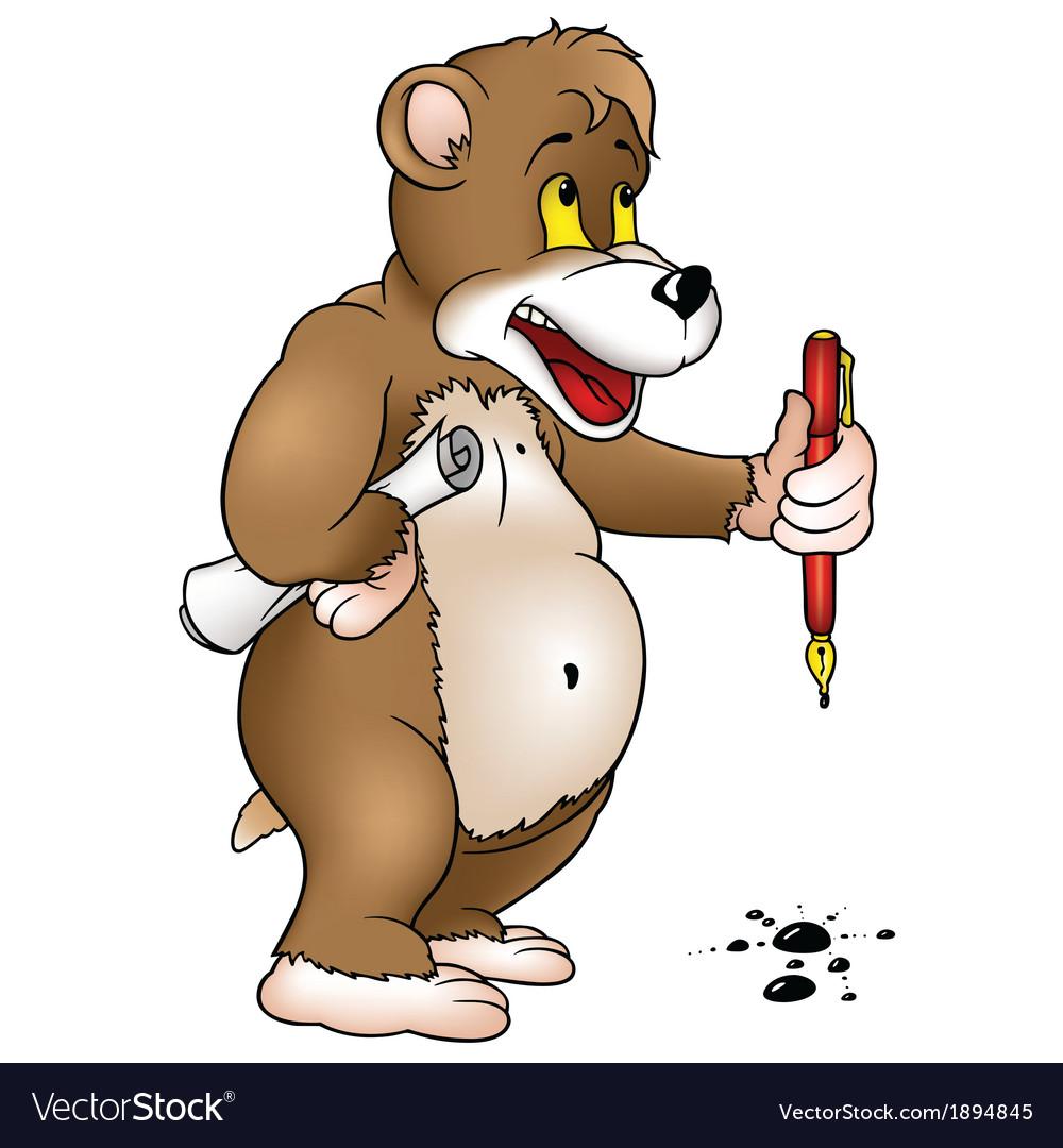 Bear Holding A Pen
