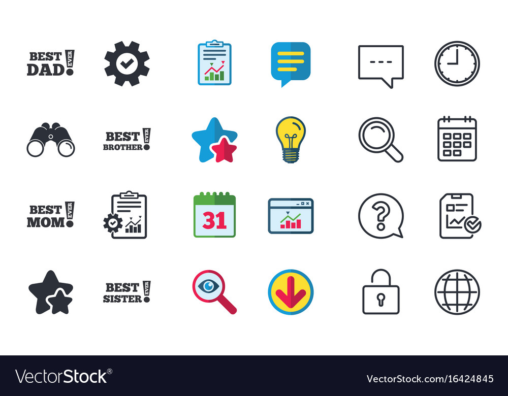 Best Mom And Dad Brother Sister Icons Royalty Free Vector