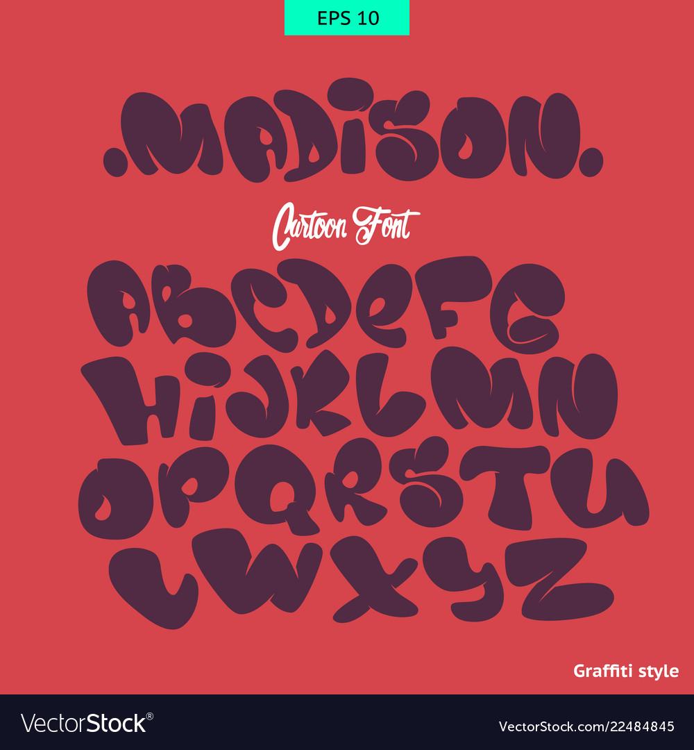 Cartoon comic graffiti font alphabet