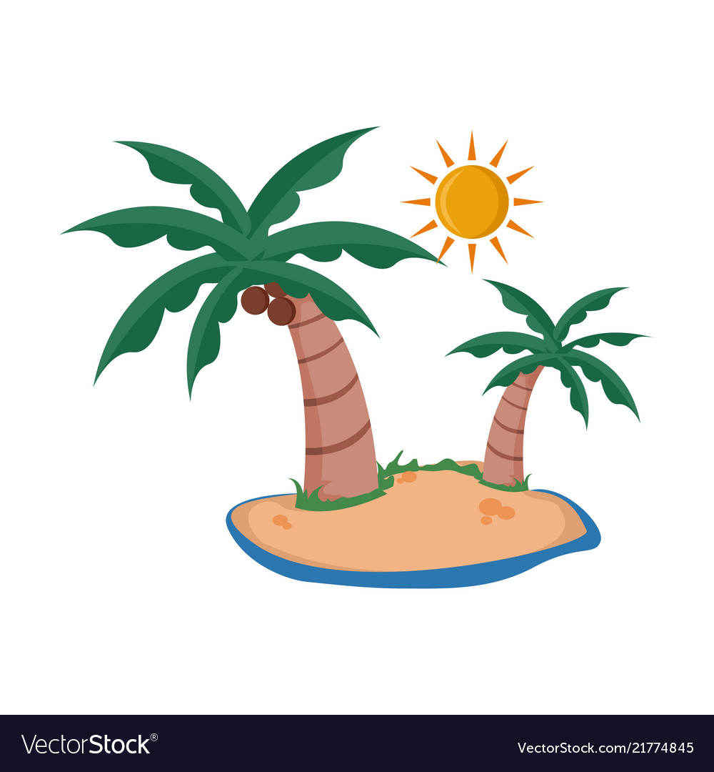 Coconut trees sunny island summer related design