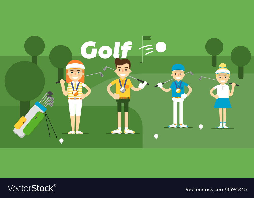 Golf team on award with medals vector image