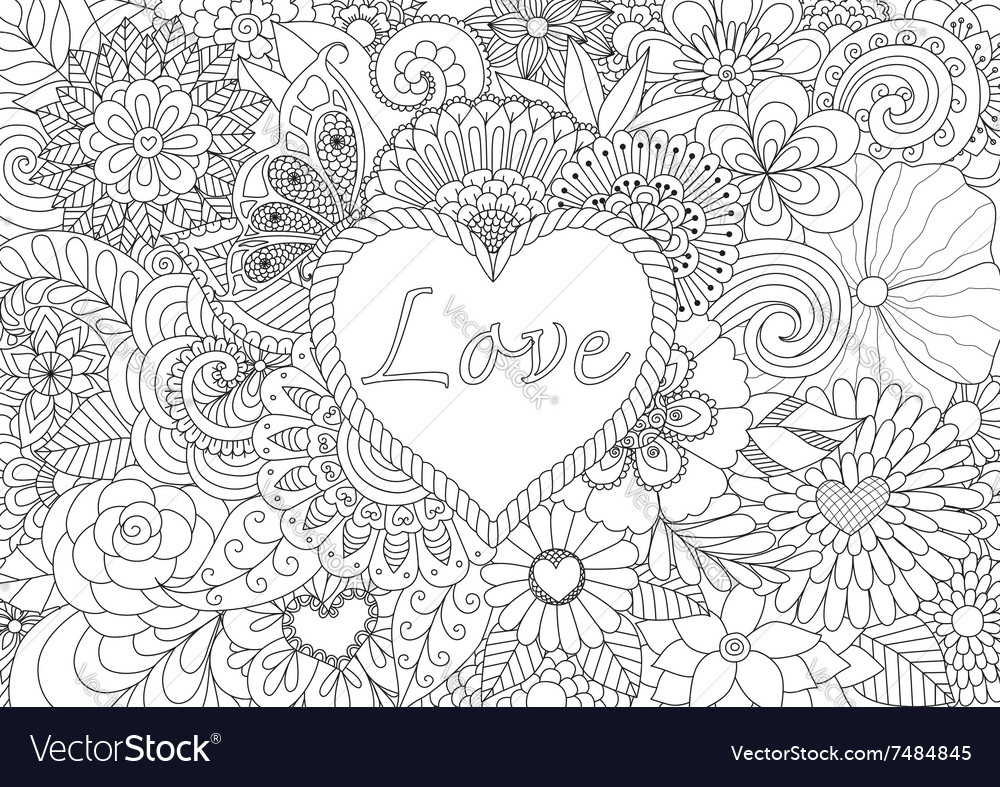 Heart on flowers coloring