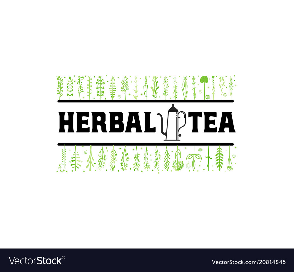 Herbal tea vintage stylized lettering badge