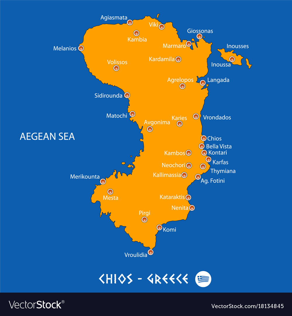 Island of chios in greece orange map and blue Vector Image