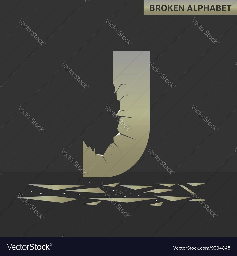 Letter J Broken mirror