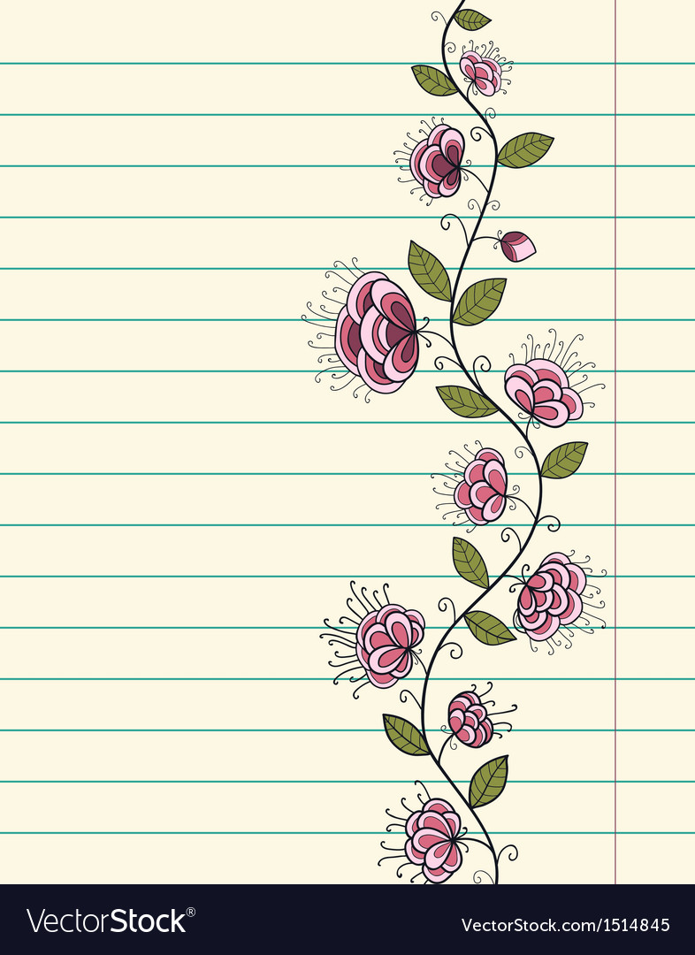 Lined Paper Sheet With Doodle Flowers Royalty Free Vector