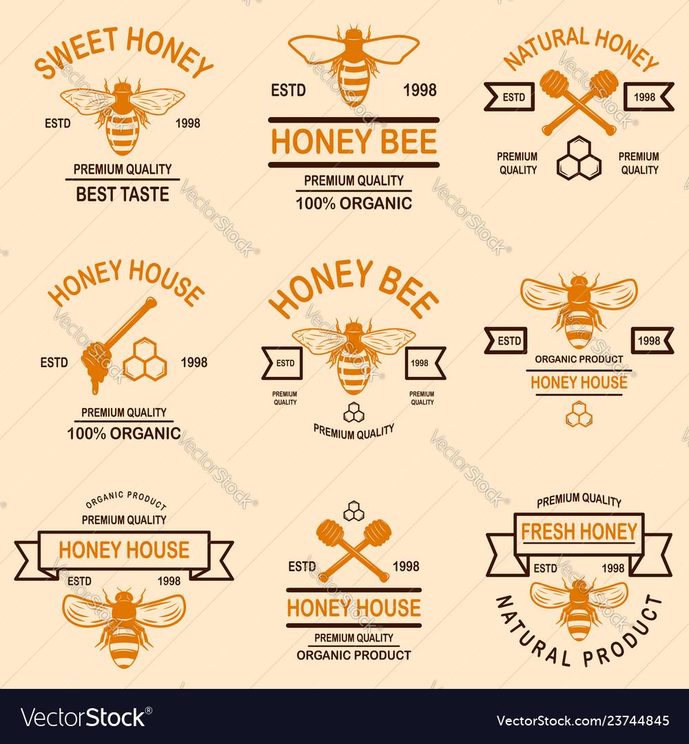 Set of honey emblems design element for logo