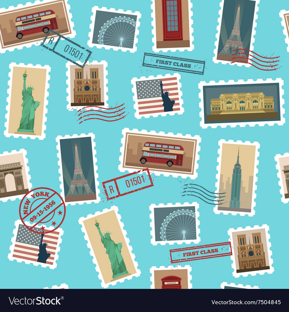 Travel Postage Stamps Seamless Pattern