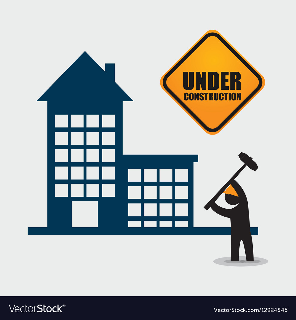 Under construction worker hammer tool vector image