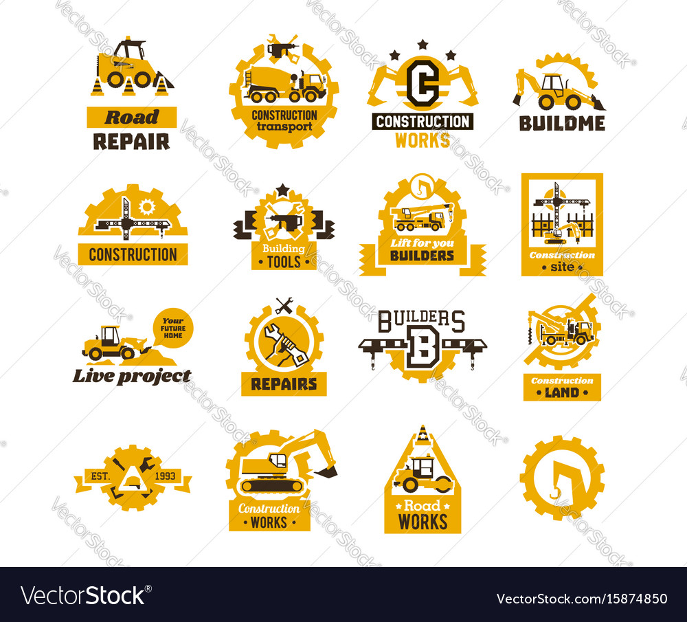 Big set of logos on the theme of construction vector image
