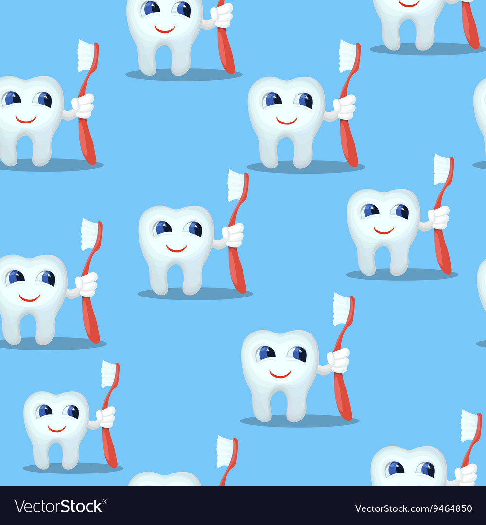 Blue seamless pattern with teeth characters kids