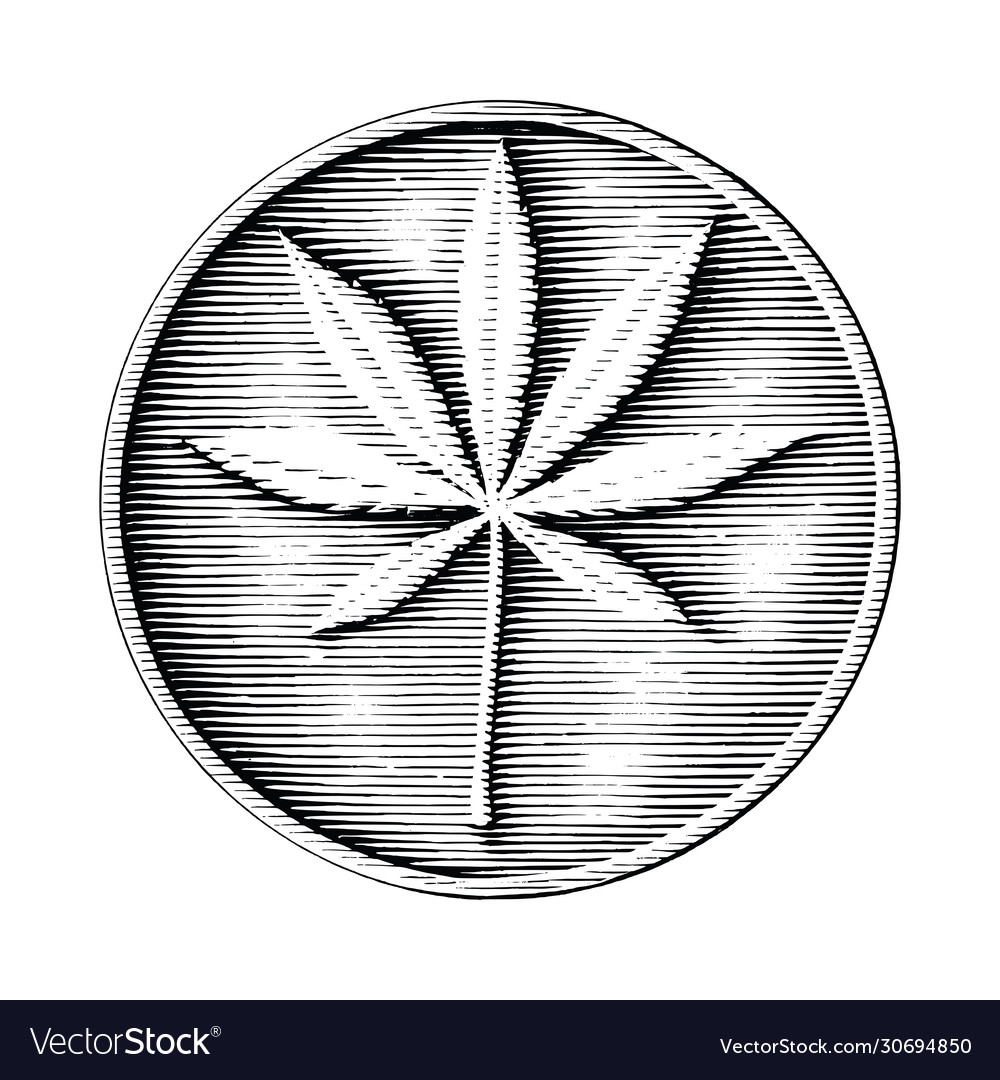Cannabis logo hand drawing in coin style black