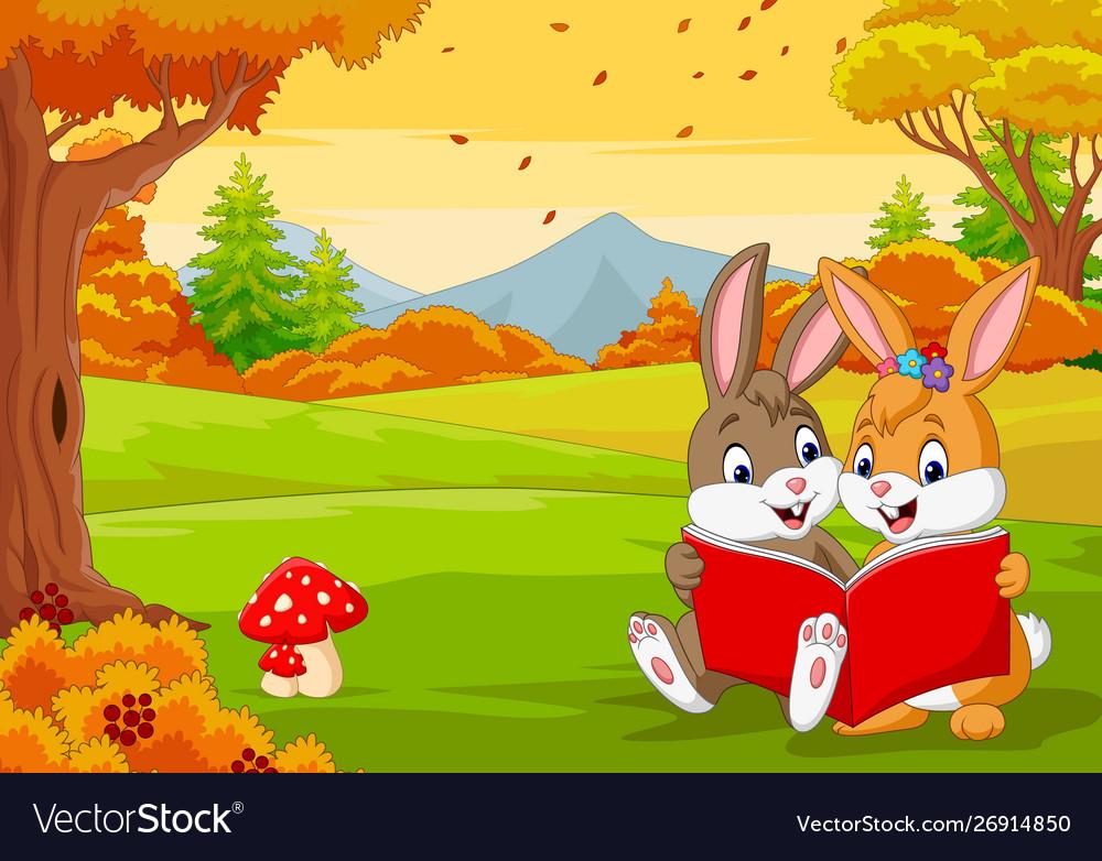 Cartoon couples rabbits reading a book