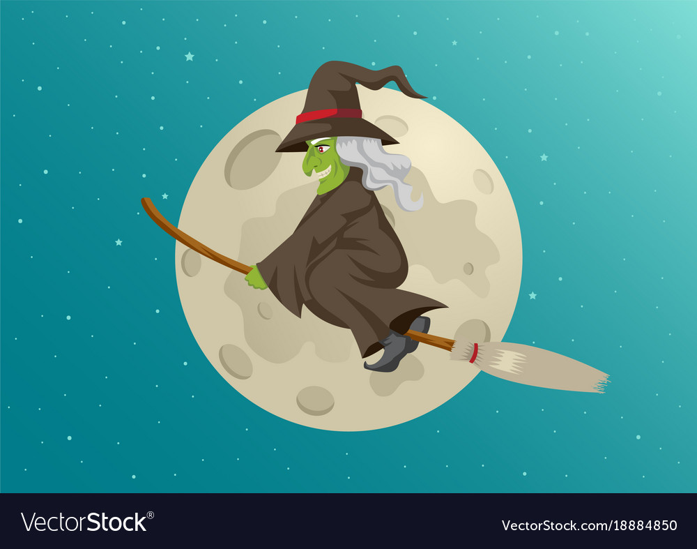 Cartoon of a witch flying with her broom during