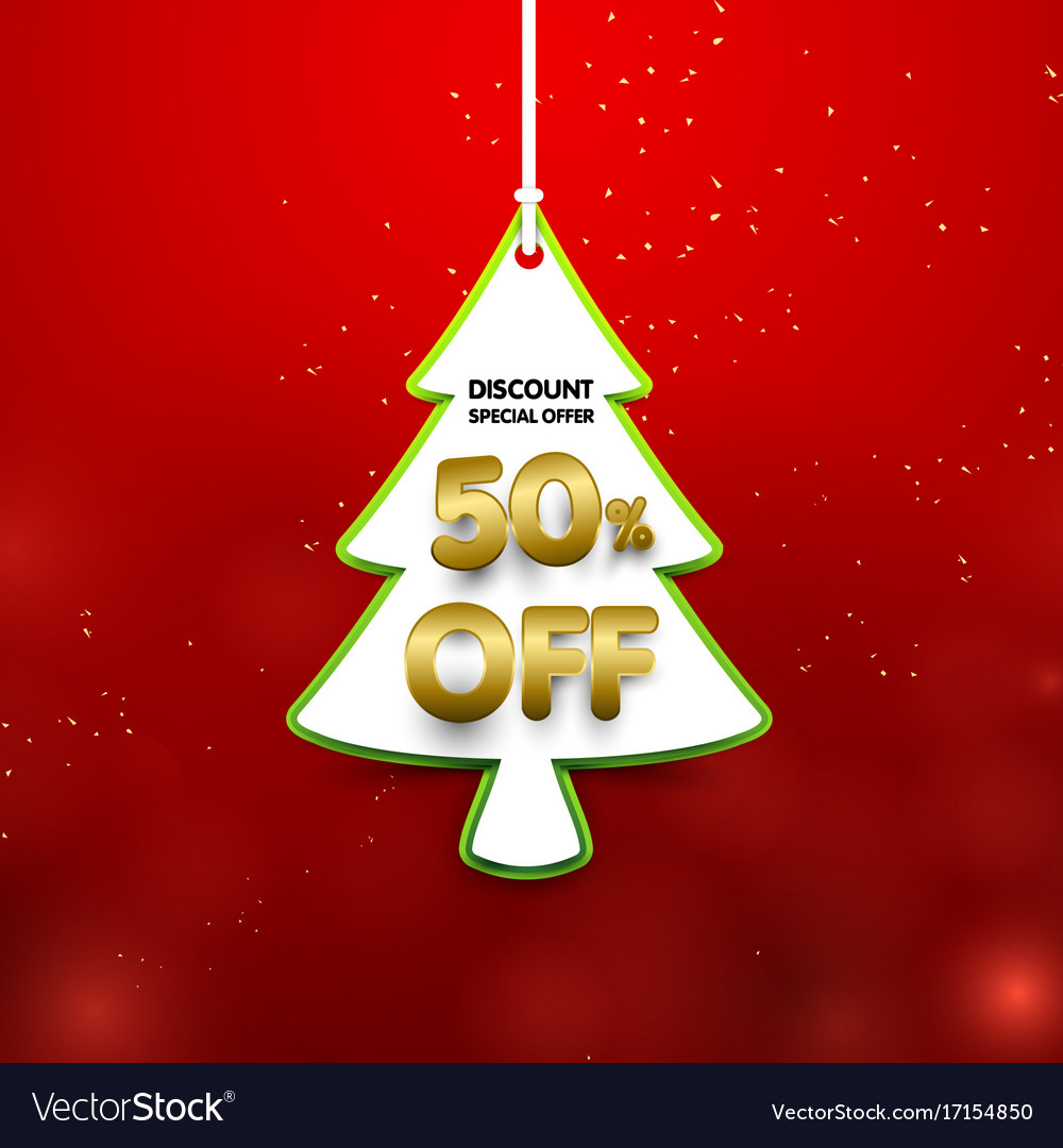 Discount 50 percent off christmas tree shape in Vector Image