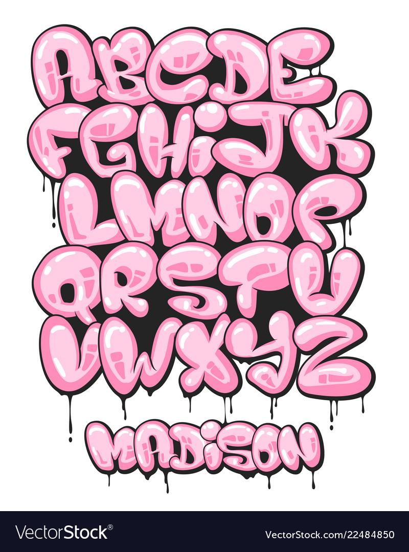 Graffiti bubble shaped alphabet set vector image