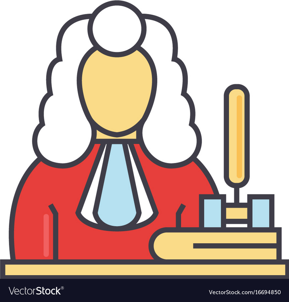 Judge gavel justice law concept line vector image