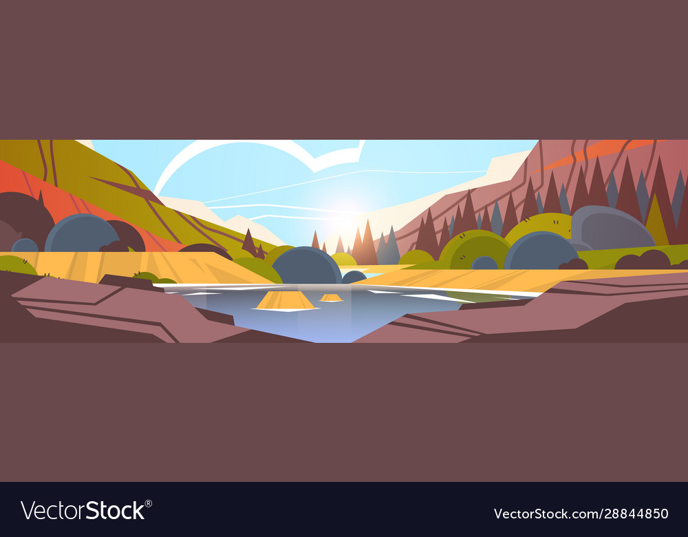Lake in front mountain range sunset forest