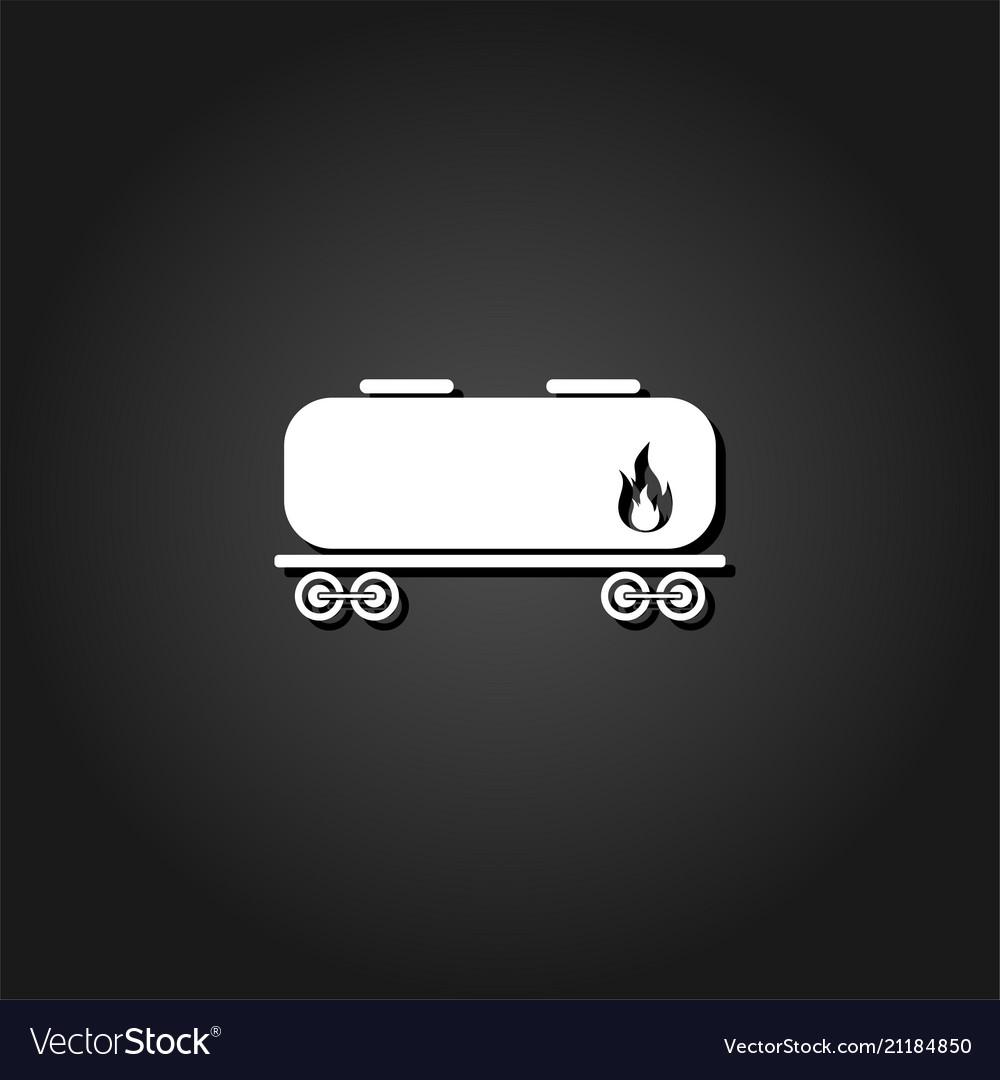 Railroad tank icon flat
