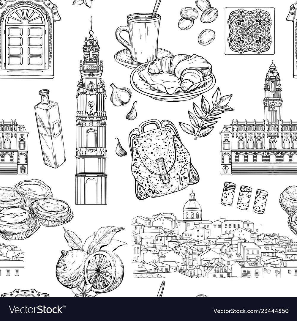 Seamless pattern with portuguese landmarks