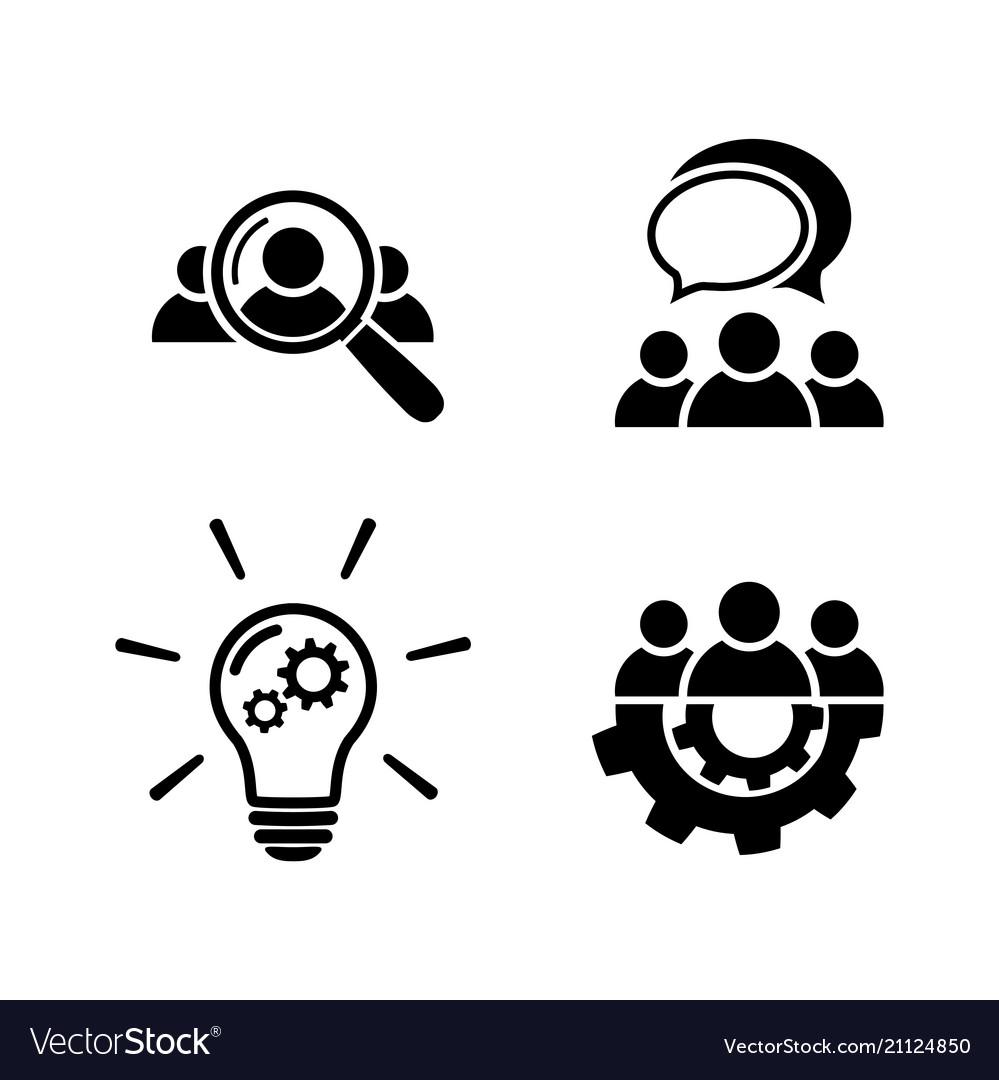 Teamwork icon set in flat style