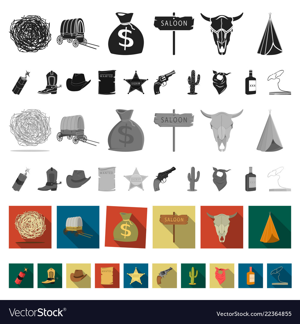 Attributes of the wild west flat icons in set